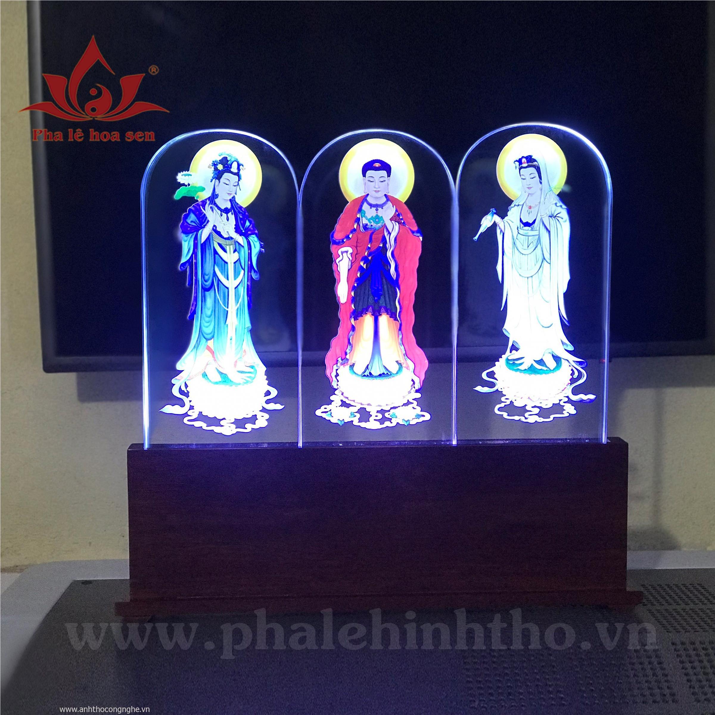 Bộ Pha Lê in màu Tam Thế Phật kt 15x30cm